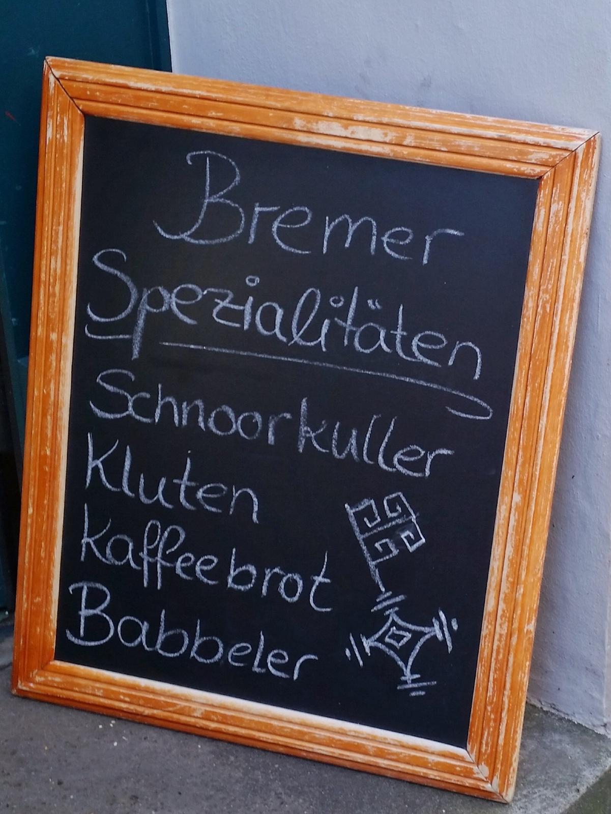 Schild mit Bremer Spezialitäten