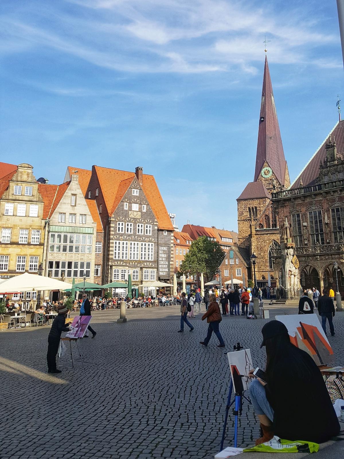 Künstler am Marktplatz in Bremen